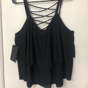 Women's NEW Criss cross  2 tiered black top size M